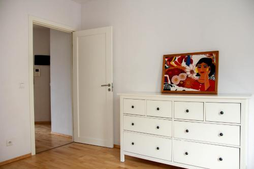 A television and/or entertainment center at Just in Center apartment