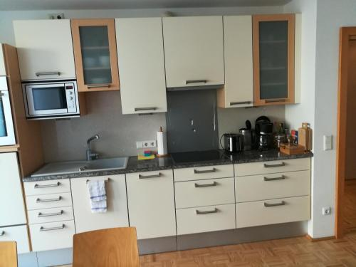 A kitchen or kitchenette at Garten Apartment Mirabell