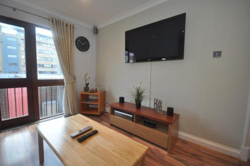 A television and/or entertainment center at Netley Apartment