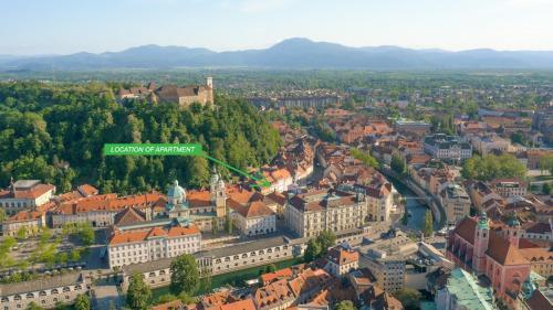 Ptičja perspektiva nastanitve Ljubljana Center Apartments