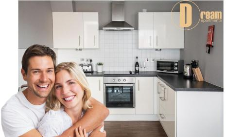 A kitchen or kitchenette at Dream Apartments Belfast