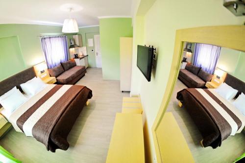 Μια τηλεόραση ή/και κέντρο ψυχαγωγίας στο Vliho Bay Suites & Apartments
