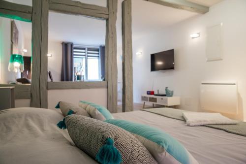 Cama o camas de una habitación en Grand studio Colmar Centre