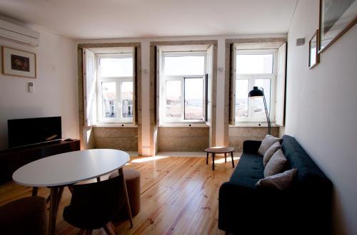 Zona de estar de Belas Artes Apartments