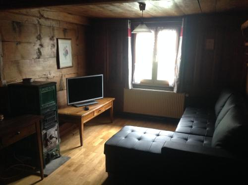 Télévision ou salle de divertissement dans l'établissement Appartement La Croix