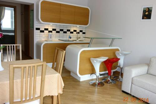 Virtuve vai virtuves aprīkojums naktsmītnē Apartment Old Town Riga River View