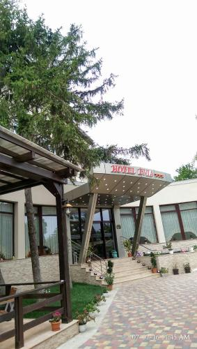 Un patio sau altă zonă în aer liber la Hotel Evia