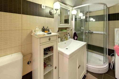 A bathroom at Corvin Museum View Studio