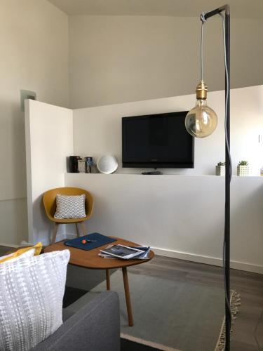 Télévision ou salle de divertissement dans l'établissement Les Apparts des Ateliers Bordelais - Cité du vin