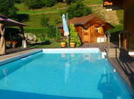 Petit chalet avec piscine vue Mt Blanc, Domancy