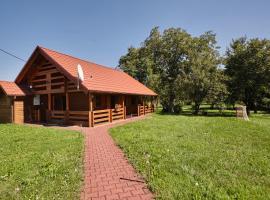 Drewniany dom z pięknym ogrodem