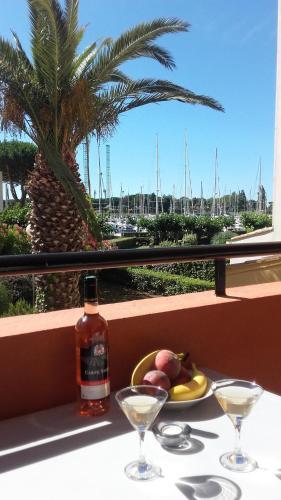 Studio Cap d'Agde terrasse vue port