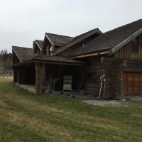 Log House with Pond