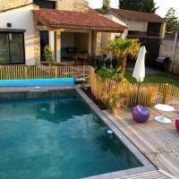 Ancienne grange avec piscine chauffée