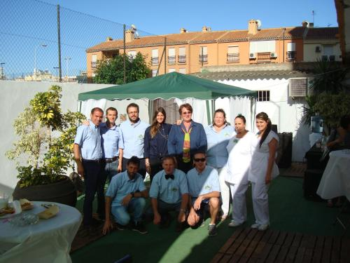 Rachel,(centre) and the staff of 2015